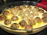 Beef and lamb meatballs baked in tahini